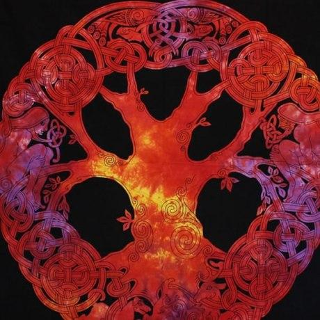 Tenture Arbre de Vie Celtique Orange Multi couleur