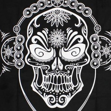 Tenture DJ Skull Noir & Blanc