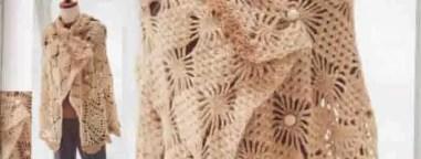 Cape motifs araignée et ananas au crochet