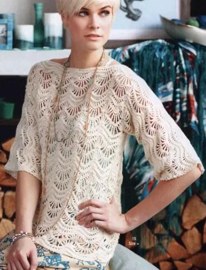 Crochet un pull motif vague