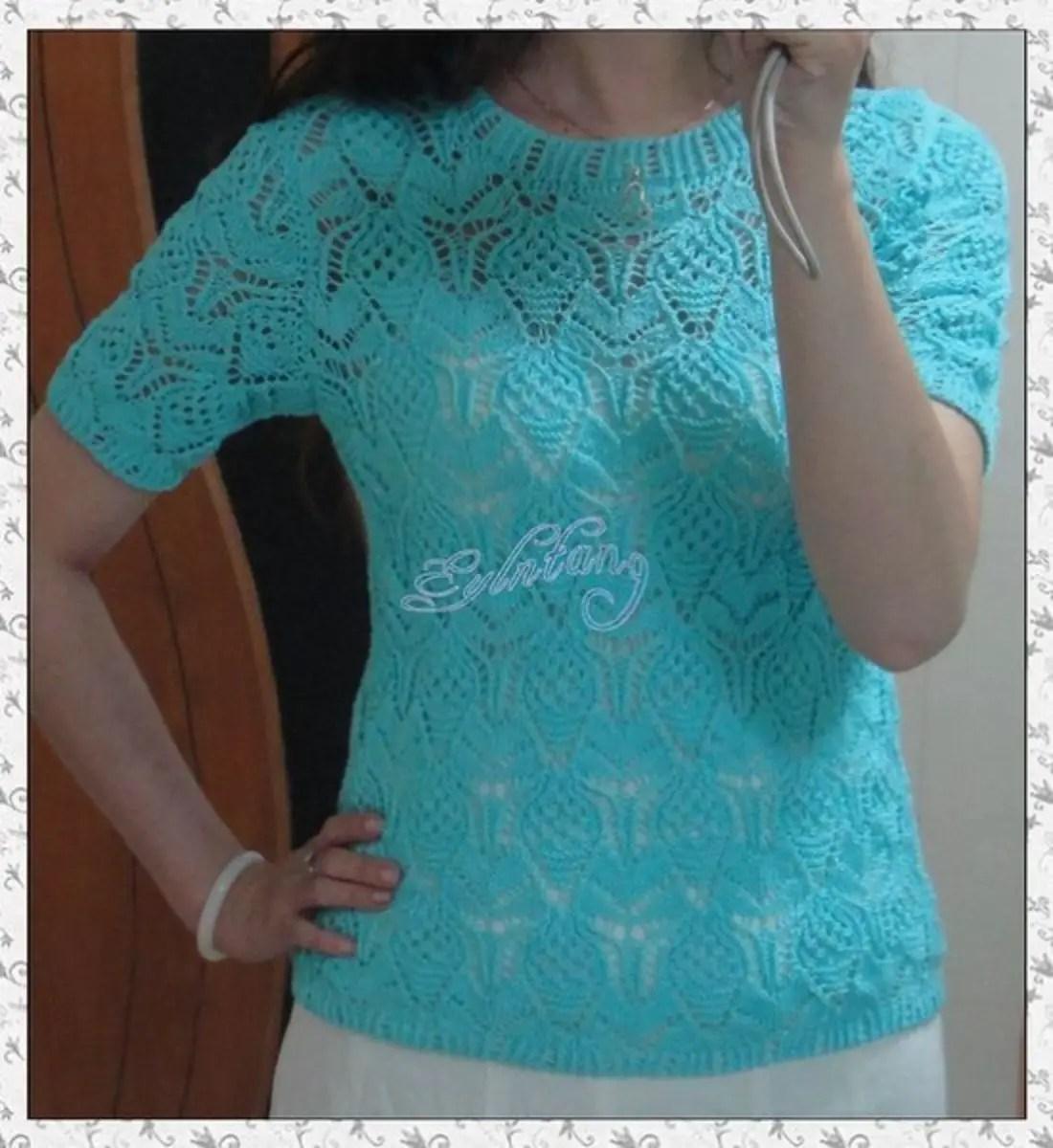 tricot un pull bleu été manche courte