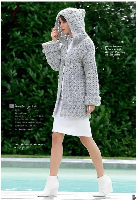 Au crochet une veste longue à capuche