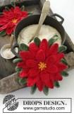un poinsettia au crochet pour une manique de Noël