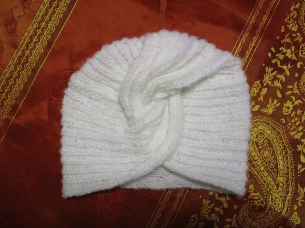 Mon turban au tricot en pas à pas facile