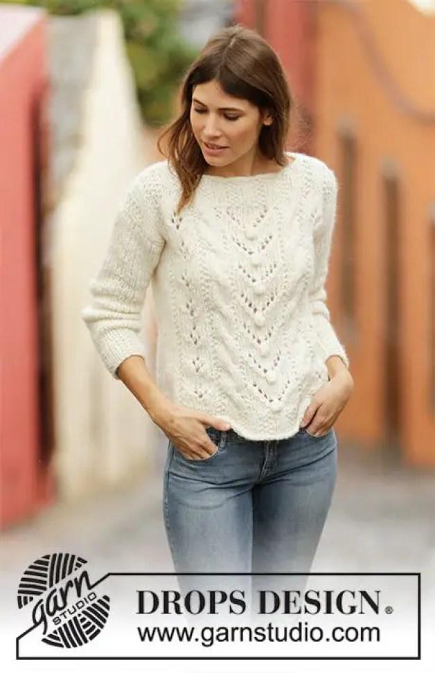le pull mountain holiday de drops pull au tricot pour les femmes
