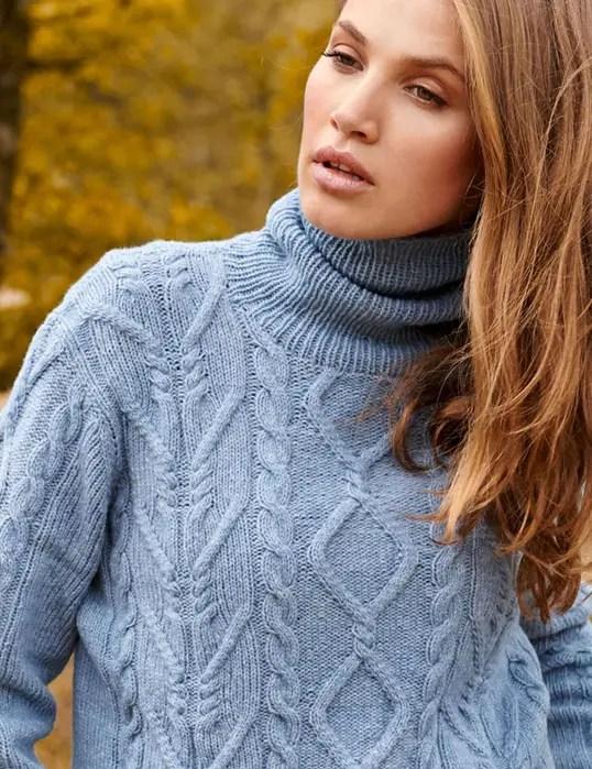 pull à torsades et losanges au tricot