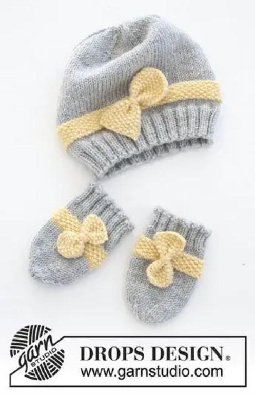 Bonnet et moufles little miss au tricot