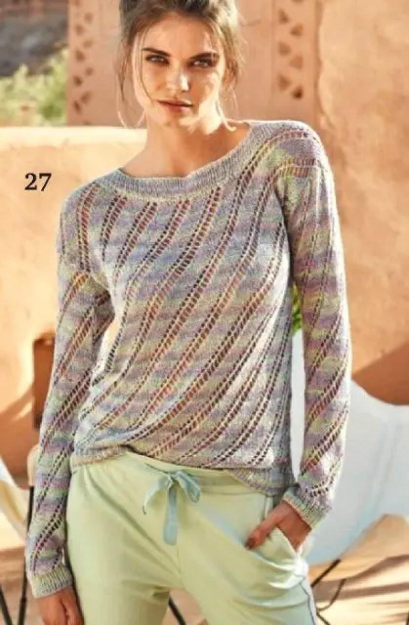 Pull d'été tricoté avec des diagonales