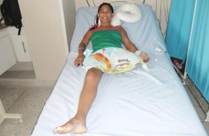 Kenia Milena Valencia Polanco, después del accidente.