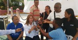 Griselda Restrepo en rueda de prensa con los periodistas de Riohacha.