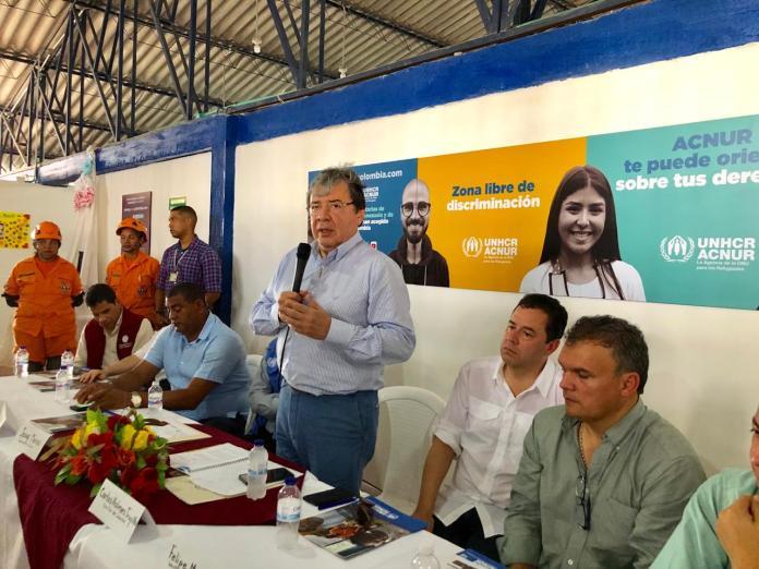 Instantes cuando el Canciller se dirigía a los presentes en la mañana de este jueves en Riohacha.
