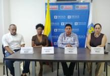 El nuevo director de la Fiscalía Harles Max Cortés Rodríguez, junto a sus compañeros de trabajo: Juan Pablo Robles, Ana Mejía Córdoba, Jackeline Reina.