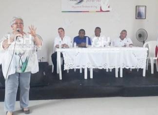 Imelda Daza Cotes, cuando se dirigía a los presentes en el foro realizado en Fonseca.
