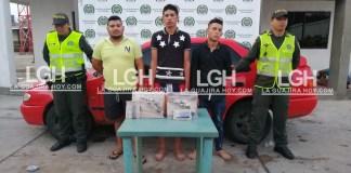 Hombres señalados por la Policía de apartamenteros, capturados en Maicao.