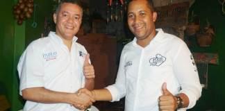 Sonrientes aparecen el excandidato Pablo Fonseca Deluque y el candidato del partido Liberal José Ramiro Bermúdez Cotes.