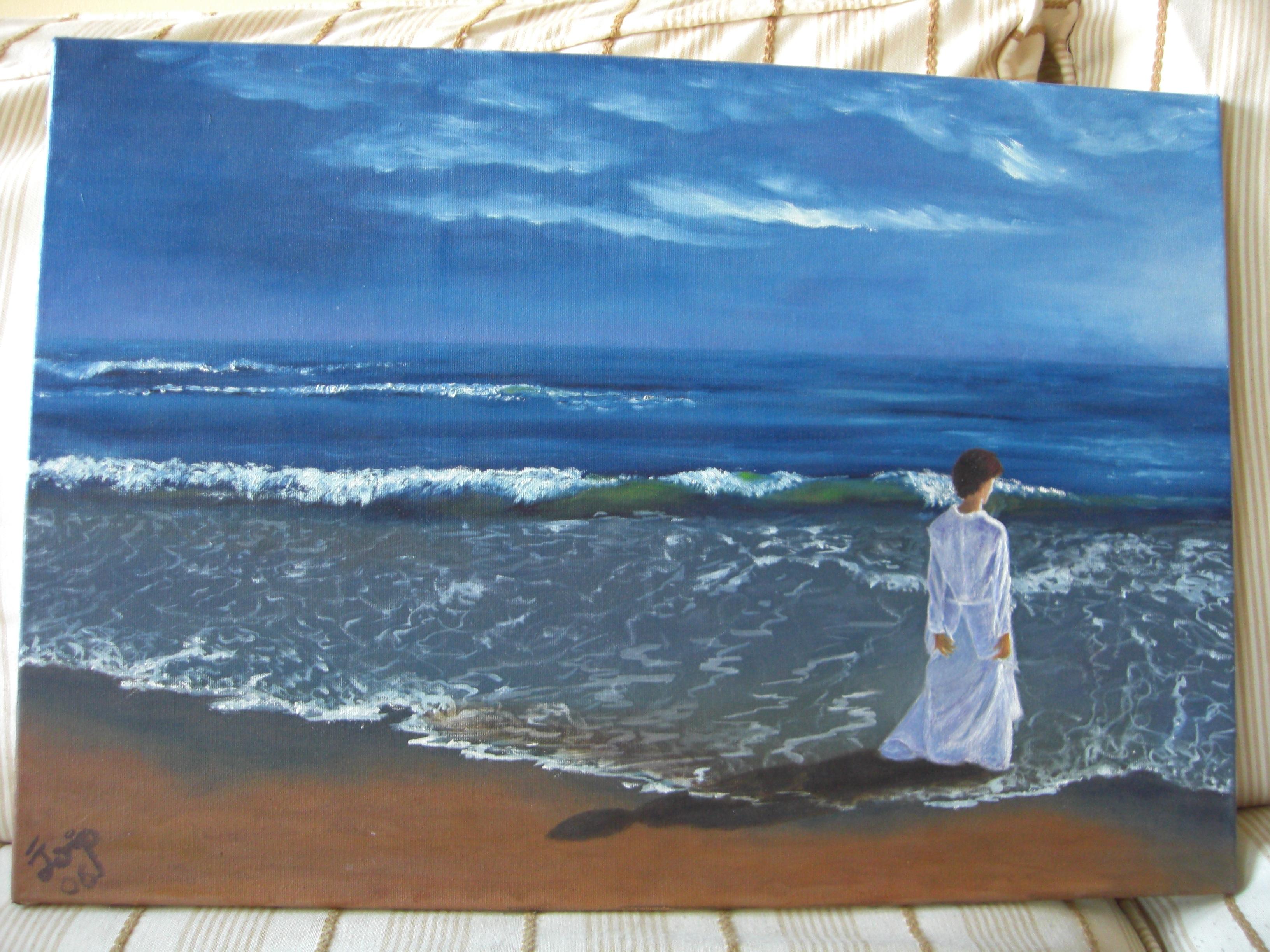 Señora en la playa