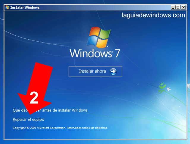 Reparar inicio Windows 7