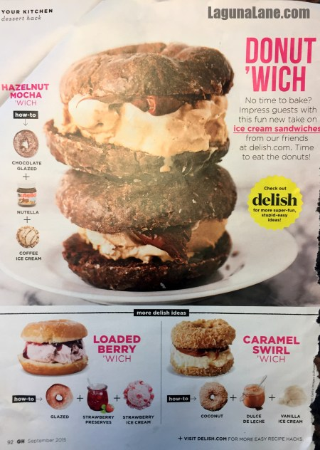 Doughnut Ice Cream Sandwiches - Good Housekeeping inspiration | Laguna Lane