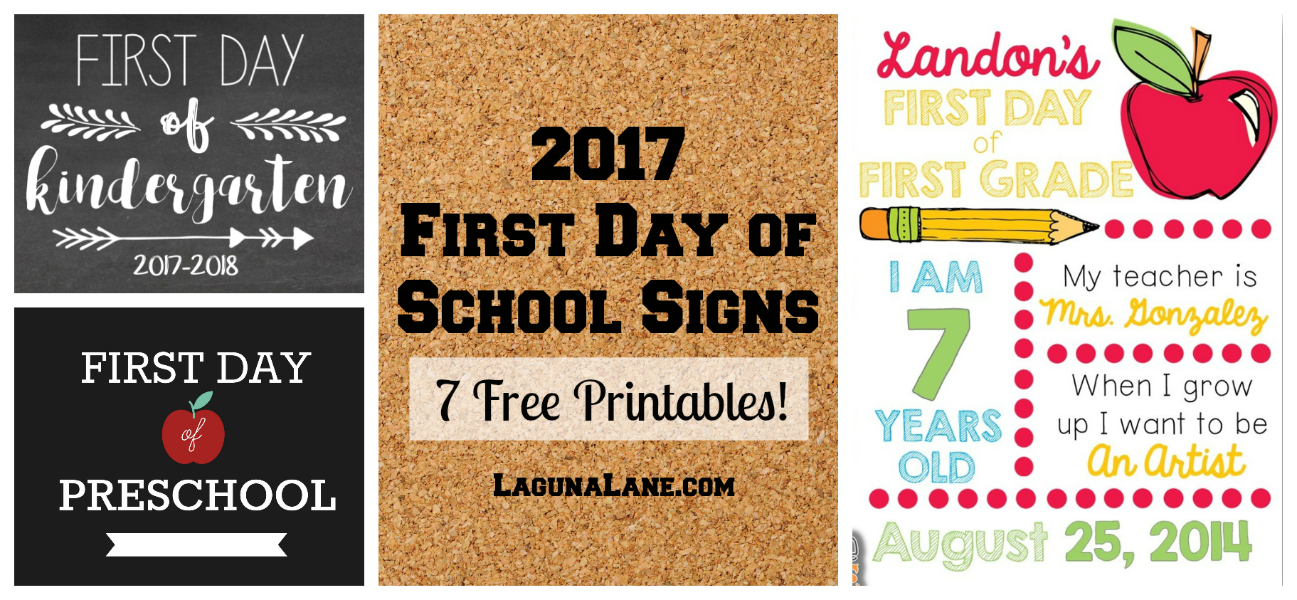 graphic regarding First Day of School Sign Printable identified as Initially Working day of University Signal - 7 Totally free Printables! - Laguna Lane