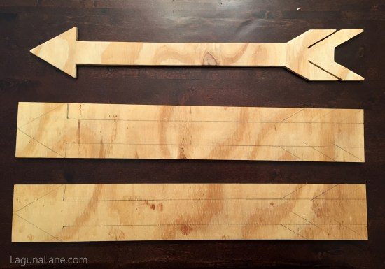 Budget Gallery Wall - DIY Wood Arrows During Cutting | Laguna Lane