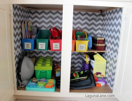 "Toy Organization - Contact Paper ""Wallpaper"" Inside Cabinet 