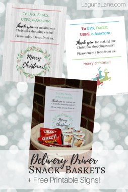 Delivery Driver Snacks - Front Porch Basket of Treats to Say Thank You + Free Printable Signs! | Laguna Lane