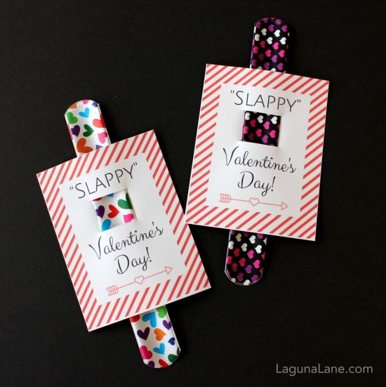 Slappy Valentine's Day - Free Printable Kid Slap Bracelet Valentine's Day Cards - Striped | Laguna Lane
