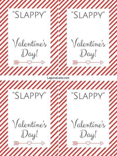 Slappy Valentine's Day - Free Printable Kid Slap Bracelet Valentine's Day Cards - Striped Prints 4 to a Page| Laguna Lane