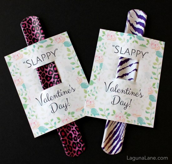 Slappy Valentine's Day - Free Printable Kid Slap Bracelet Valentine's Day Cards - Floral | Laguna Lane