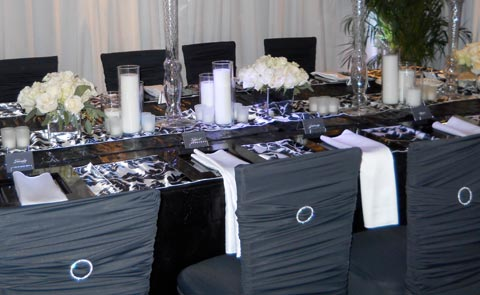 wedding chair covers mansfield woven bistro chairs laguna spandex linens gallery silver aluminum tabletop for table