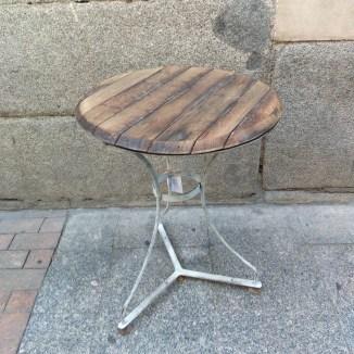 velador vintage estilo industrial madera hierro desgastado pata mesita auxiliar redonda madrid 2