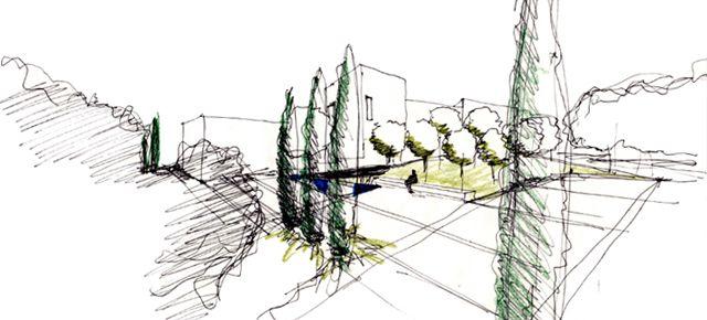 Dise o de jardines proceso ii croquis y dibujos la for Dibujos de jardines