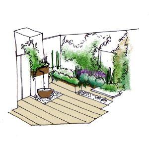 Jard n de dise o con fuente la habitaci n verde for Dibujos de jardines