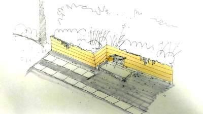 croquis de fuente de diseño para jardin