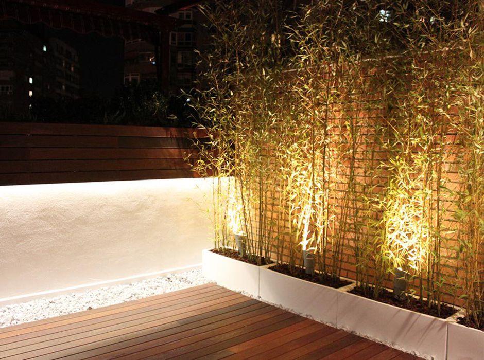 Terraza en Madrid con iluminación