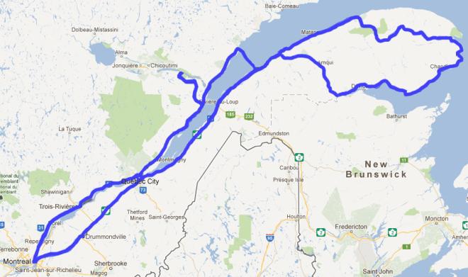 Itinéraire Québec