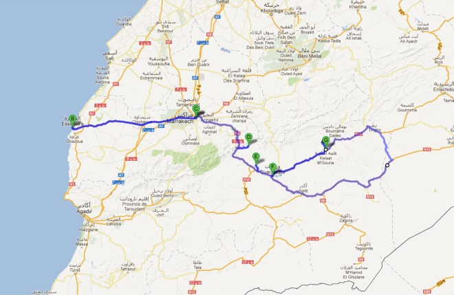Itinéraire Maroc