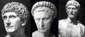 Integrantes del segundo triunvirato. De izquierda a derecha: Marco Antonio, Octavio y Lépido