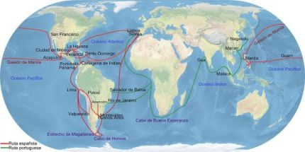 Mapa de las rutas comerciales en donde se aprecian los recorridos realizados por las embarcaciones españolas durante varios siglos.