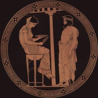 Egeo, rey de Atenas, consultando a una pitonisa de Delfos.