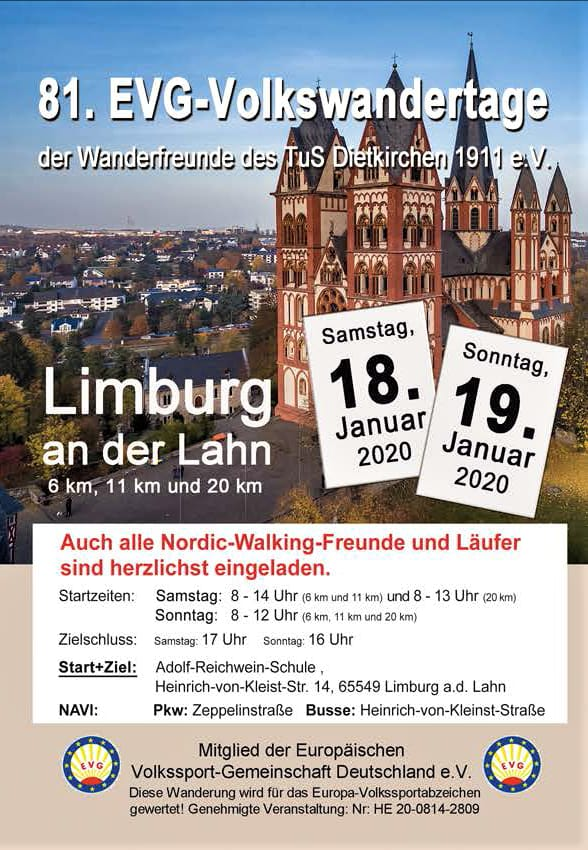 Ankündigung Volkswanderung Limburg