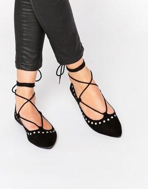 Public Desire - Chaussures plates cloutées - Noir - 28,99 € SOLDE ---> 16,99 €