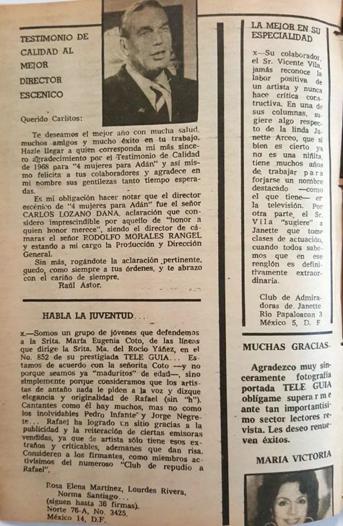 revista tele guia 1969 raul astor maria victoria