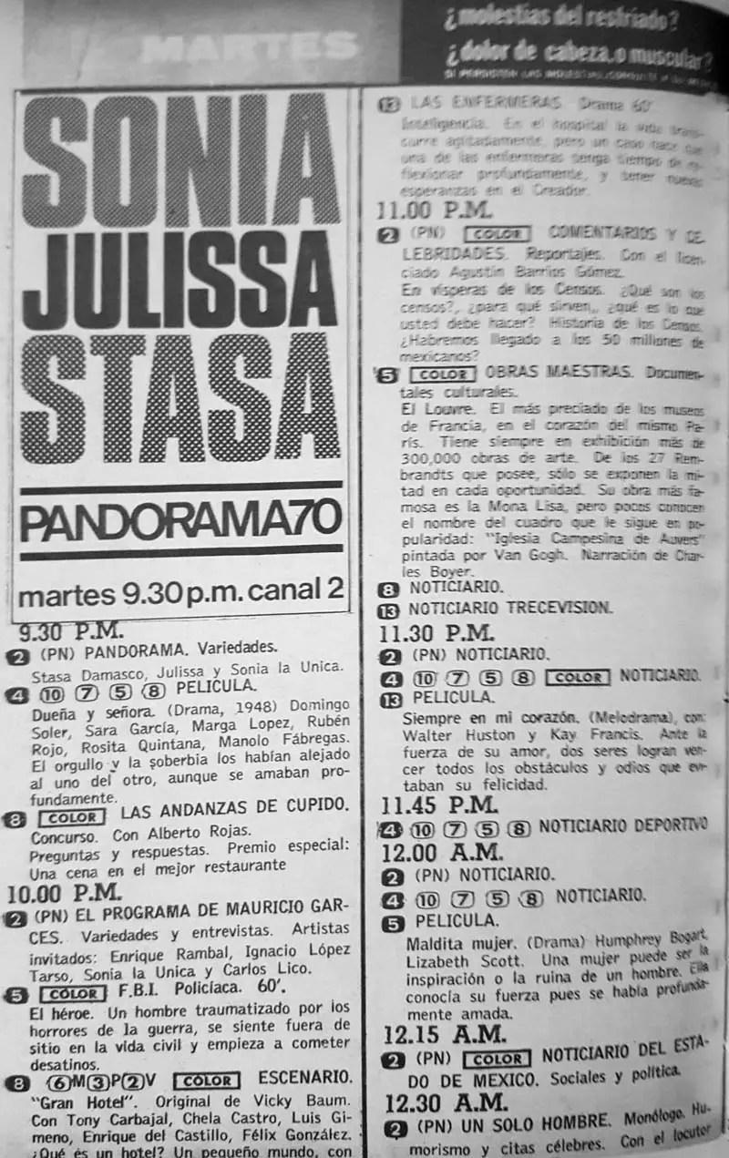 48-revista teleguia enero 1970 julissa sonia stasa pandorama andanzas de cupido enfermeras agustin barrios gomez