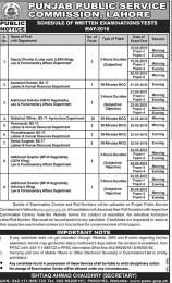 PPSC Lahore Written Examinations Or Tests Schedule May 2016