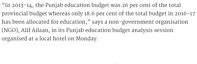 Punjab Education Budget 2016-17 Allocation For Education