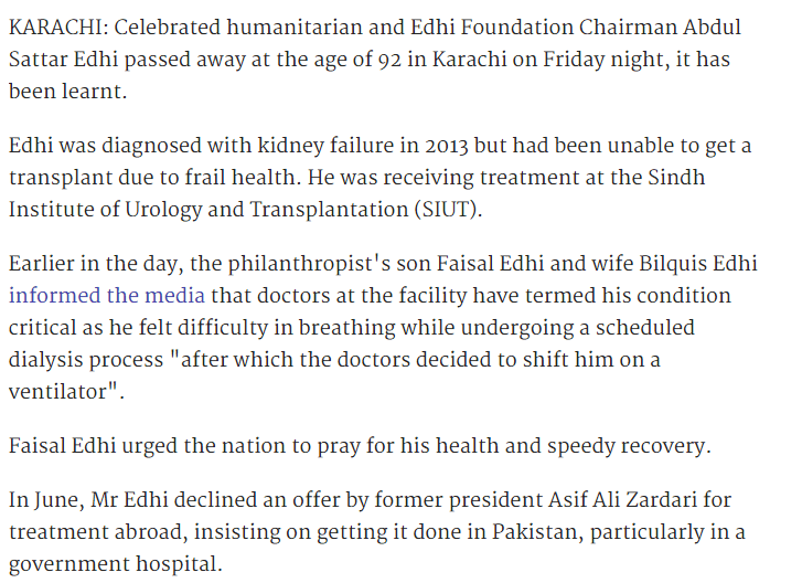 Abdul Sattar Edhi Passed Away