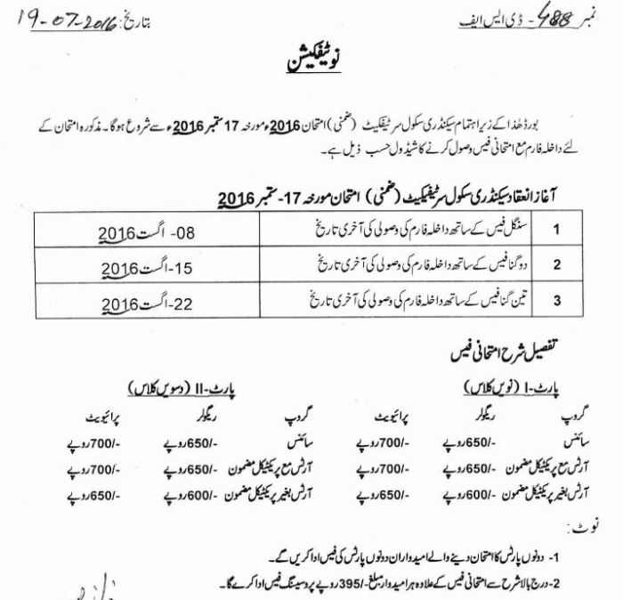 BISE Lahore Board 10th Class Supplementary Exams