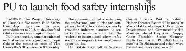Food Safety Internships Punjab University Lahore