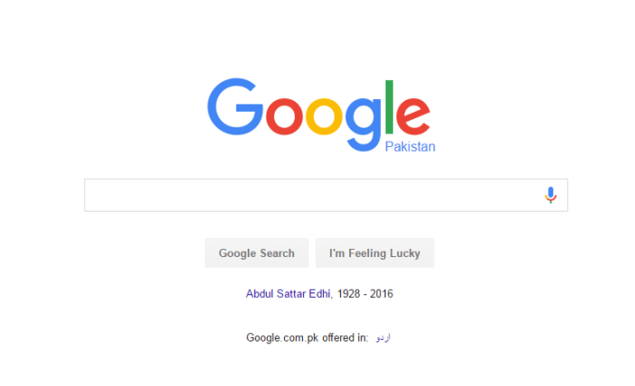 Google Tribute To Abdul Sattar Edhi